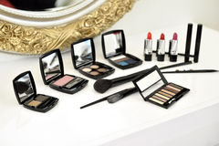 Make-up Kit. A colorful make-up kit on table indoor stock photo