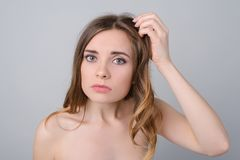 Make-up lack of vitamins minerals quick dirty hairstyle concept. royalty free stock photo