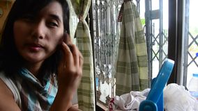 Make up Lifestyle Thai woman use Face powder stock video