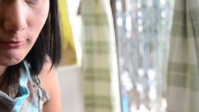 Make up Lifestyle Thai woman use Lipstick, lip gloss stock video footage