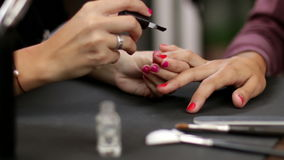Make Up Making Red Nails Glossy Rack Focus stock video