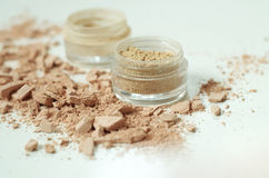 Make up mineral powder in plastic jar Stock Images