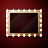Make up mirror with light bulbs Stock Photography