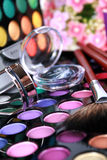 A make-up multi colored palette. Makeup professional eye shadow palette with beautiful flowers on bacground Stock Photo