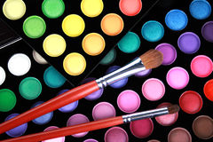 A make-up multi colored palette close up stock images