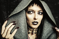 Make up, nails of sexy evil witch. Halloween style - costume and make up of sexy evil witch Royalty Free Stock Images
