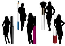 Make-up objects isolated with female silhouettes. On white Royalty Free Stock Image