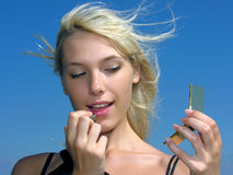Make-up outdoors Stock Photography