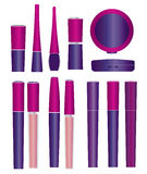 Make-up packages. Set of pink modern make-up packages Stock Photography