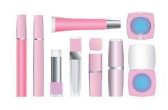 Make-up packages. Set of vector cosmetic packages samples for product design Stock Image