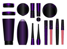 Make-up packages. Set of vector cosmetic packages samples for product design Stock Images