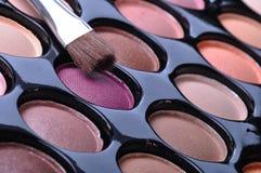 Make-up palette. Make-up brushes and make-up eye shadows Royalty Free Stock Photos