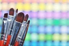 Make-up palette. Make-up brushes and make-up eye shadows Royalty Free Stock Photo