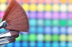 Make-up palette. Make-up brushes and make-up eye shadows Stock Photos