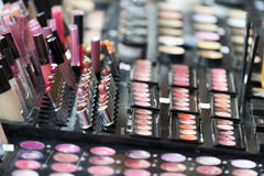 Make-up palette with lipstick. Make-up colorful palette with lipstich, selective focus stock image