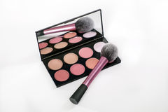 Make-up palette and pin brus on white background. Stock Photo