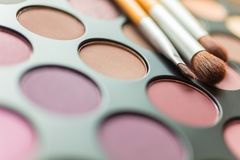 Make Up Pallet and Brushes. Macro close up photograph of make up or makeup pallet or palette and brushes Stock Photo