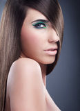 Make-up, perfect hair on a sexy woman Royalty Free Stock Images