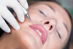 Make-up. Permanent make-up on lips (tattoo royalty free stock photography