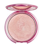 Make-up pink powder in plastic box Royalty Free Stock Image