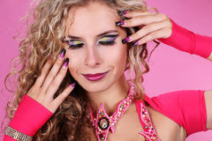 Make up, portrait beautiful woman on pink Royalty Free Stock Photo
