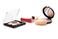Make-up powder in box Stock Image