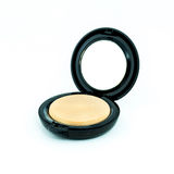 Make-up powder in box and make up brush isolated Stock Photography