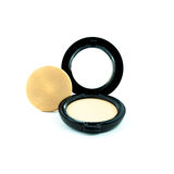 Make-up powder in box and make up brush isolated Royalty Free Stock Images