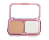 Make-up powder in box and make up brush isolated on white (clipping path). Stock Photography