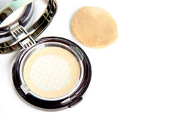 Make-up powder in box on white background, used product. Make-up powder in box on white background stock photography