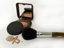 Make up powder and  brush Royalty Free Stock Image