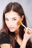 Make up with powder brush Stock Photo