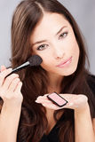 Make up with powder brush Royalty Free Stock Photography
