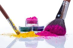 Make up powder and brushes Royalty Free Stock Image