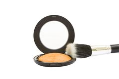 Make-up powder compact with brush isolated Stock Photos