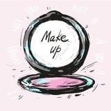 Make up powder hand drawn fashion illustration vector Royalty Free Stock Image