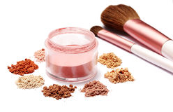 Make up powder sweet color and brush on white background Stock Photography