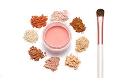 Make up powder sweet color and brush on white background. For make up artist Stock Photos