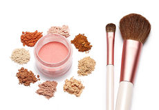 Make up powder sweet color and brush on white background. For make up artist Royalty Free Stock Image