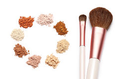 Make up powder sweet color and brush on white background. For make up artist Royalty Free Stock Photo
