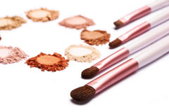 Make up powder sweet color and brush on white background. For make up artist Stock Photography