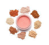 Make up powder sweet color on white background. For make up artist Stock Image