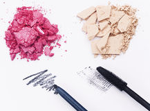 Make-up products. Close-up of make-up products on white background Royalty Free Stock Photos