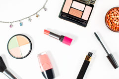Make up products collection on white background Royalty Free Stock Photography