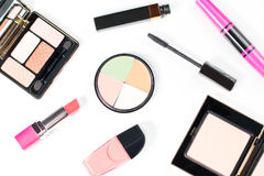 Make up products collection on white background Stock Images