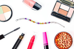 Make up products collection on white background. Make up items collection on white background, top view Royalty Free Stock Image