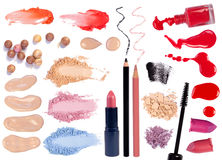 Make up products isolated on white Royalty Free Stock Images