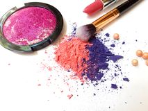 Make up products isolated on white background royalty free stock images