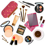 Make-up products isolated on white Royalty Free Stock Images