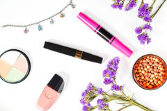 Make up products on a white background Royalty Free Stock Photo